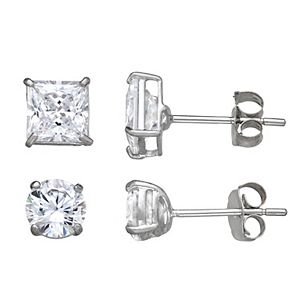 Forever 14K White Gold Round & Square Cubic Zirconia Stud Earring Set