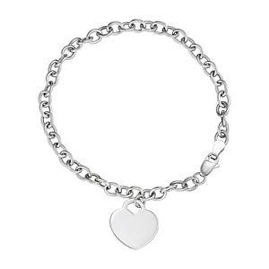 Forever 14K 10K White Gold Heart Bracelet