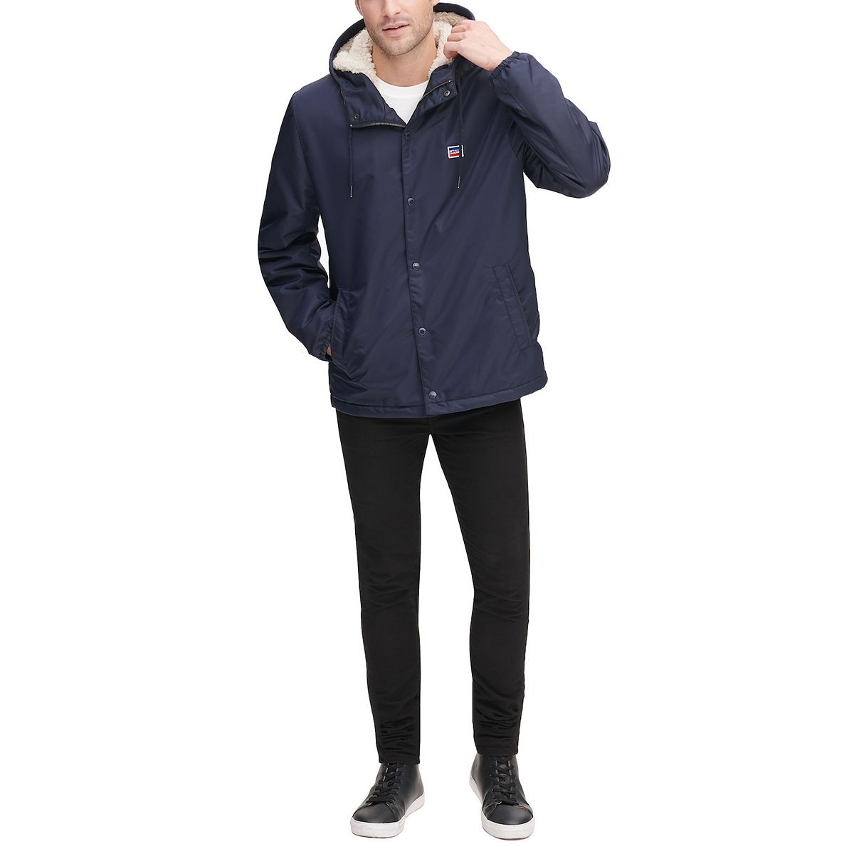 Men's Levi's® Coaches Flight Hoodie Jacket with Sherpa Lining Navy WR1OO