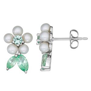 Sterling Silver Freshwater Cultured Pearl & Lab Created Spinel Floral Earrings