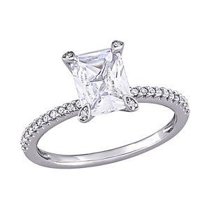 Stella Grace 10K White Gold Lab Created White Sapphire & 1/10 Carat T.W. Diamond Engagement Ring