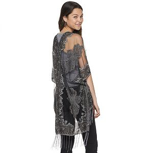 Juniors' SO Paisley Burnout Topper with Fringe Trim