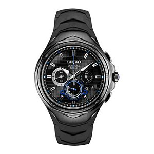 Seiko Men's Coutura Black Ion-Plated Stainless Steel & Silicone Solar Chronograph Watch - SSC745