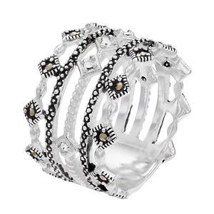 Women's La Belle Vie Clear Crystal Diamond Shape Rows Ring