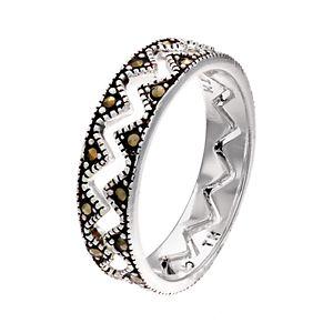La Belle Vie Zig Zag Interlocked Genuine Marcasite Stone Ring