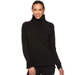 Women's Gaiam Asymmetrical-Zip Mockneck Fleece Top