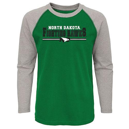 Boys 4-20 North Dakota Fighting Hawks Reverse Varsity Block Raglan Tee