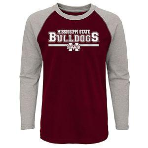 Boys 4-20 Mississippi State Bulldogs Reverse Varsity Block Raglan Tee
