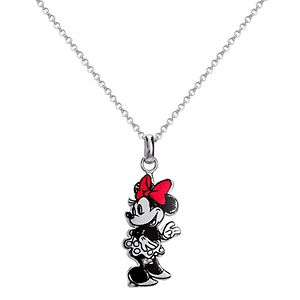 Disney's Minnie Silver Plated Brass Sketch Art Necklace
