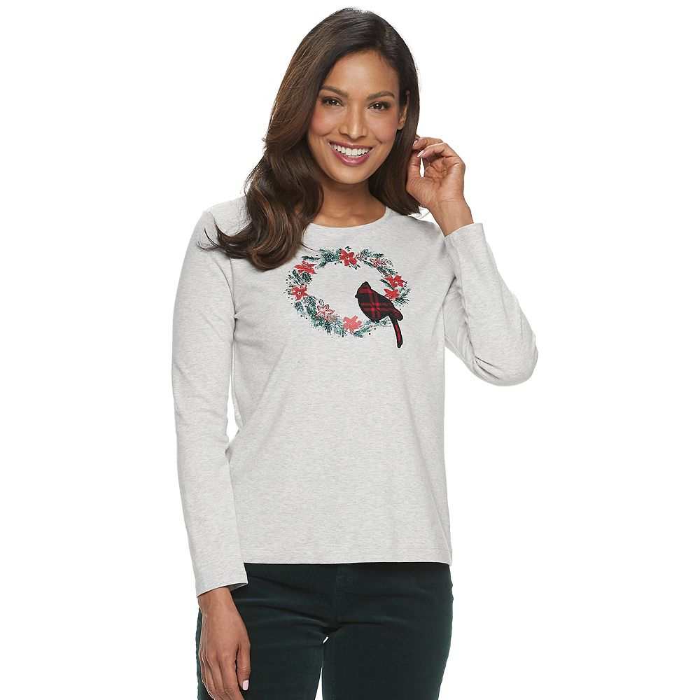 Petite Croft & Barrow® Holiday Crewneck Tee