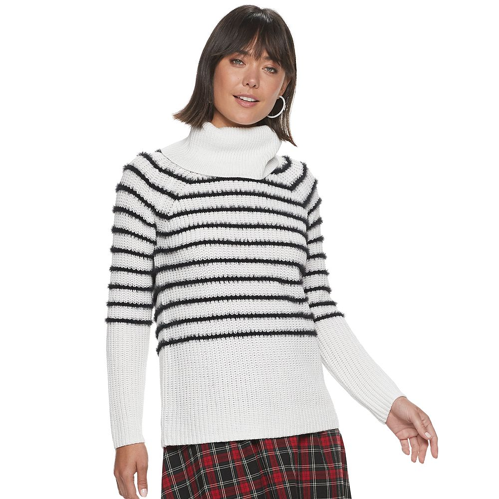 Women's ELLE™ Eyelash Stripe Cowlneck Sweater