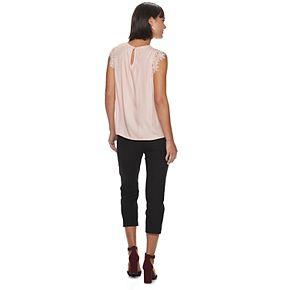 Women's ELLE? Lace-Sleeve Shell Top