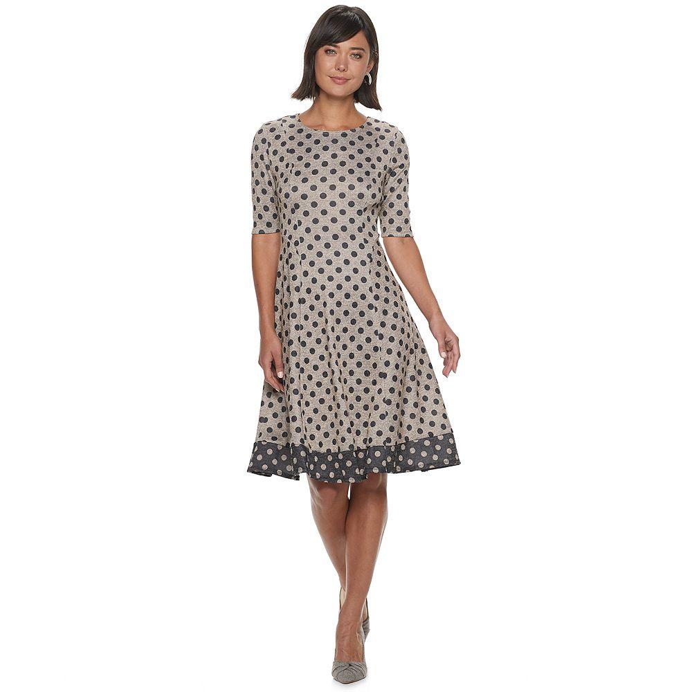 Women's ELLE™ Polka Dot Fit & Flare Dress