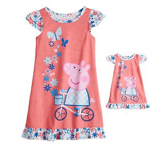 Toddler Girl Peppa Pig Night Gown & Doll Gown Set