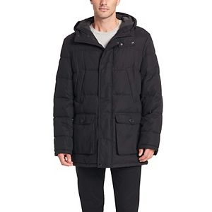 Men's Dockers® Water Resistant Quilted Long Hooded Parka Jacket