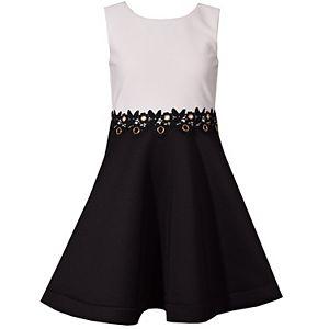 Girl's 7-16 Bonnie Jean Ottoman Waistline Fancy Venise Trim Dress