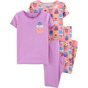 Girls Carter's 4-Piece Dog Snug Fit Cotton Pajamas