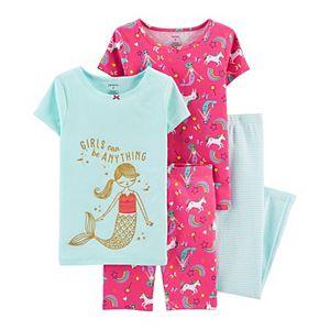 Girls 4-14 Carter's 4-Piece Spring Prints Cotton Pajamas