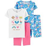 Girls 4-14 Carter's 4-Piece Graphic Cotton Pajamas