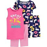 Girls 4-14 Carter's 4-Piece Vacay Mode Snug Fit Cotton Pajamas