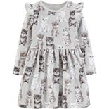 Toddler Girl Carter's Cat French Terry Dress