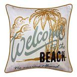 Edie@Home Beach Embroidered Printed Outdoor Throw Pillow