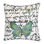 Edie@Home Embroidered Butterfly Script Outdoor Throw Pillow
