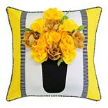 Edie@Home Outdoor Striped Floral Roses Throw Pillow