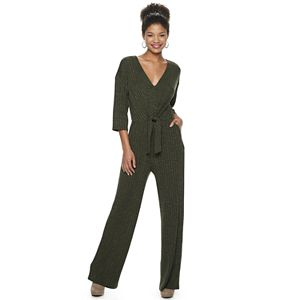 Juniors' Lily Rose Knot Front 3/4 Sleeve Knit Jumpsuit