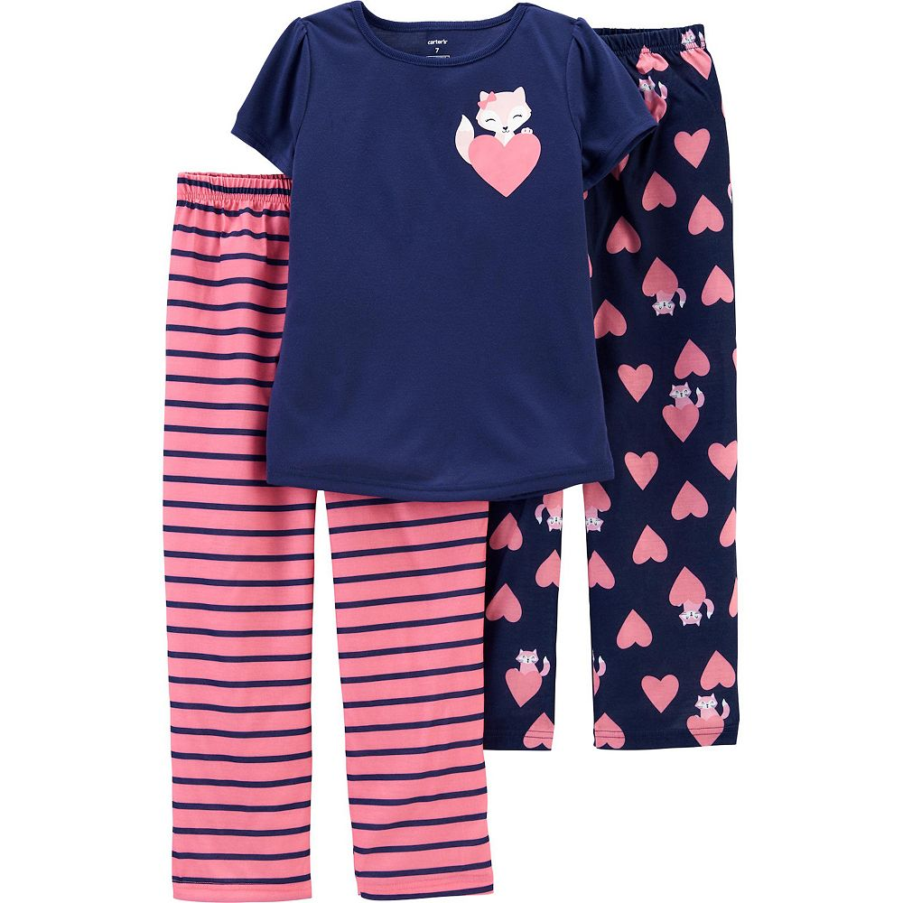 Girls 4-14 Carter's Top and Two Pajama Pants Comfy Pattern Set