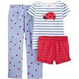 Girls Carter's 3-Piece Striped Ladybug Pajama Set