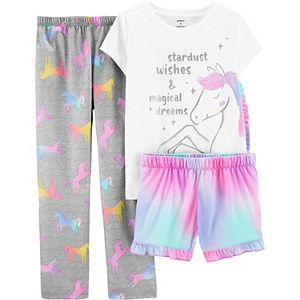Girls 4-14 Carter's Top, Shorts and Pants Unicorn Pajamas Set