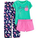 Girls Carter's 3-Piece Llama Print Pajama Set
