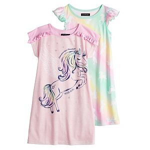 Toddler Girl Cuddl Duds 2 Pack Unicorn Night Gowns