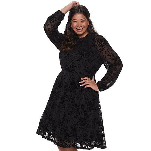 Juniors\' Plus Size American Rag Mock Neck Velvet Burnout Dress With Bishop  Sleeves
