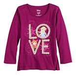 """Disney's Frozen Anna & Elsa Toddler Girl """"LOVE"""" Sequined Graphic Tee by Jumping Beans®"""