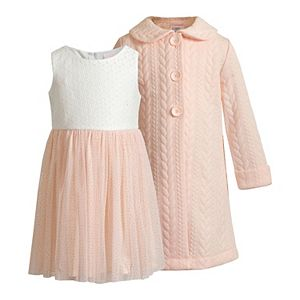 Toddler Girl Young Land Lace & Mesh Dress with Coat 2-Pc. Set