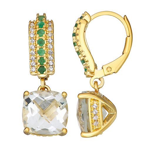 18K Gold Over Sterling Silver Green Quartz Lab-Created Emerald & White Sapphire Drop Earrings