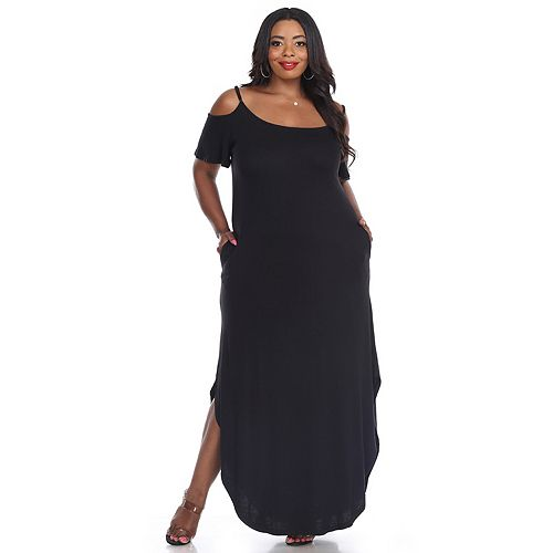 Plus Size White Mark Cold-Shoulder Maxi Dress
