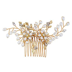 Simulated Crystal and Simulated Pearl Floral Hair Comb