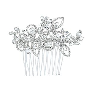 Simulated Crystal Leaf Motif Hair Comb