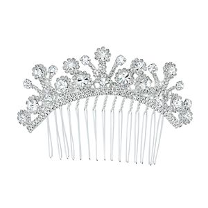 Simulated Crystal Curved Hair Comb