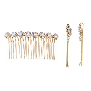 Simulated Crystal Flower Motif Hair Comb and Bobby Pin Set