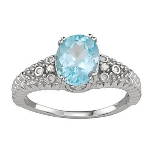 Sterling Silver Sky Blue Topaz & Diamond Accent Ring