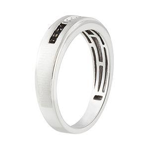 10k White Gold 1/10 Carat T.W. Black & White Diamond Ring