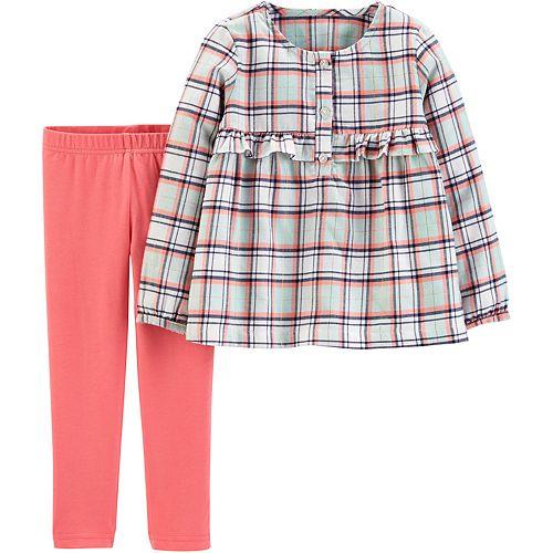 Toddler Girl Carter's 2-Piece Plaid Flannel Top & Legging Set