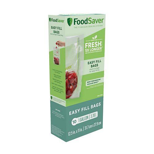 FoodSaver Easy Fill 1-Gallon Reusable Vacuum Sealer Bags - 10-Count