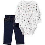 Baby Boy Carter's 2-Piece Winter Henley Bodysuit Pant Set