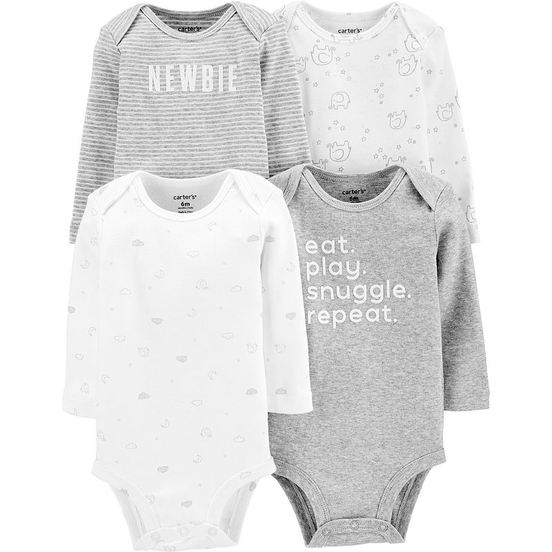 Carter/'s Baby Girls/' Dino Long Sleeve 4 Pack Bodysuits-24 Months