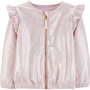 Toddler Girl Carter's Sparkly Zip-Up Bomber Jacket